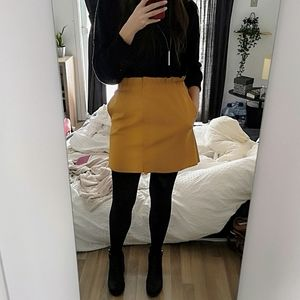 Small Zara Faux leather yellow skirt